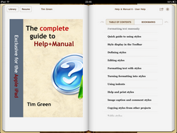 ePUB e-book displayed in iBooks on an Apple iPad (landscape view)